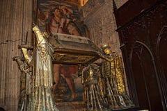 克里斯托弗・哥伦布坟茔在大教堂里在市塞维利亚在Andaucia南西班牙 库存照片