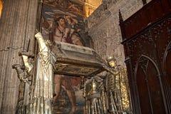 克里斯托弗・哥伦布坟茔在大教堂里在市塞维利亚在Andaucia南西班牙 免版税库存照片