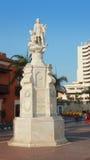 克里斯托弗・哥伦布纪念碑在广场de la Aduana在卡塔赫钠de Indias的历史的中心 库存照片