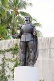 克里斯托弗・哥伦布雕象在佛罗里达/迈阿密,美国 免版税库存图片