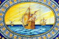 克里斯托弗・哥伦布, La Rabida,韦尔瓦省省,西班牙三caravels  库存图片