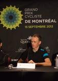 克里斯托弗Froome在GPCQM, Quebe精华新闻招待会  库存图片