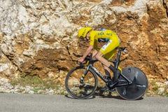 克里斯托弗Froome,单独时间试验-环法自行车赛2016年 免版税图库摄影
