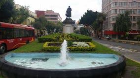 克里斯托瓦尔Colon的来源在一多云天在市Mexicorn 免版税库存照片