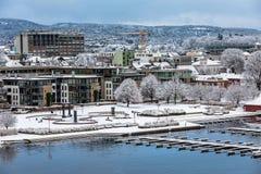 克里斯蒂安桑,挪威- 2018年1月17日:在雪盖的Otterdals公园 在港口的喷泉  库存图片