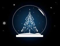 克里斯tmas snowglobe tree 免版税库存图片