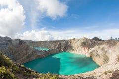克里穆图火山火山火山口,弗洛勒斯,印度尼西亚 库存图片