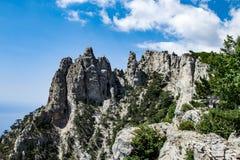 克里米亚半岛山 在山的上面的看法 晴天,克里米亚 库存照片