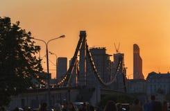 克里米亚半岛桥梁在日落的莫斯科 库存图片
