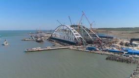 克里米亚半岛桥梁的曲拱建设中 股票视频