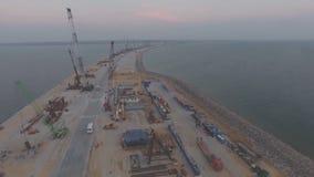 克里米亚半岛桥梁,建造场所的中部的建筑 大厦机械和建筑材料 影视素材
