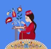 克里米亚半岛鞑靼人的女刺绣工 库存照片