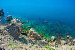 克里米亚半岛风景- Meganom海湾 免版税图库摄影