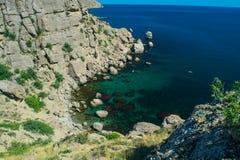 克里米亚半岛风景- Meganom海湾 免版税库存照片