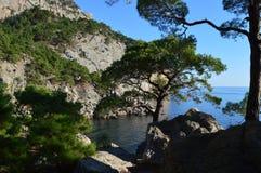 克里米亚半岛,俄罗斯, 2016的岩石海岸夏天 图库摄影