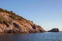 克里米亚半岛dag kara横向光山光芒 免版税库存照片