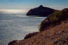 克里米亚半岛dag kara横向光山光芒 图库摄影