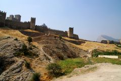 克里米亚堡垒sudak 免版税库存照片
