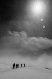 克里米亚夜间高涨纵向发出光线星期日乌克兰冬天 图库摄影