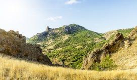 克里米亚,绝种火山卡拉Dag山储备 免版税库存图片