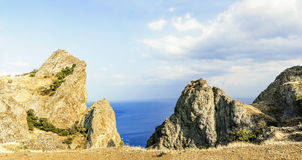 克里米亚,绝种火山卡拉Dag山储备 免版税图库摄影