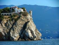 克里米亚 Gaspra 海角Ai托多尔 城堡在极光峭壁的燕子的巢 库存图片