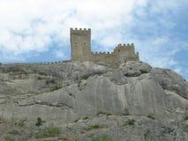 克里米亚 Sudak 城堡领事热那亚人fortifiaction的堡垒 免版税库存图片