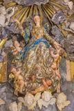 克雷莫纳,意大利, 2016年:假定雕象在大教堂里朱塞佩基亚里 免版税库存图片