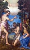 克雷莫纳,意大利, 2016年:基督洗礼绘画在大教堂里朱利奥Campi 库存照片