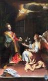 克雷莫纳,意大利, 2016年:通告绘画在教会基耶萨di圣诞老人Agata里安德里亚Scudellari & x28; 1857& x29; 免版税库存照片
