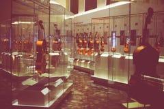 克雷莫纳,意大利2014年11月14日:博物馆小提琴, Stradivari v 免版税库存照片