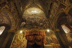 克雷莫纳,意大利12月30日:大教堂玛丽亚Assunta的内部是主要教堂城市的- 12月30日201 库存图片