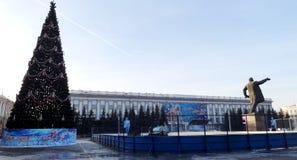克麦罗沃市 冬天 免版税库存图片