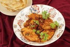 克什米尔人鸡和pappadums 库存图片