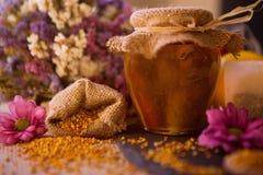 免疫的健康蜂蜜和花粉粒子 库存照片