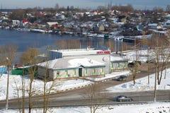 免税店的看法在边界检查站` Ivangorod `的 免版税图库摄影