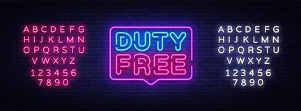 免税霓虹灯广告传染媒介 免税设计模板霓虹灯广告,轻的横幅,霓虹牌,每夜明亮 免版税库存图片