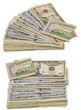 兑现被折叠的堆隔绝白色背景拼贴画的钞票 免版税库存照片
