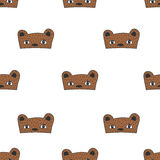 兔子、猫和熊孩子乱画面具无缝的样式 图库摄影