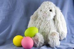 兔子兔宝宝和复活节彩蛋 库存图片
