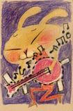兔子吉他弹奏者 免版税图库摄影