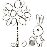 兔子和复活节树 免版税库存照片