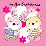 兔子和熊有花背景 库存照片