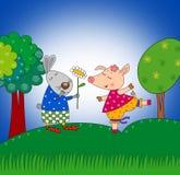 兔子和猪 免版税库存图片
