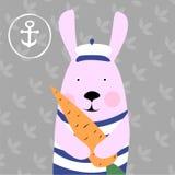 兔子和红萝卜的例证 免版税库存照片