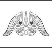 兔子在boho样式的着色概述 种族野兔 免版税库存图片