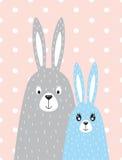 兔子家庭在斯堪的纳维亚样式的 免版税图库摄影