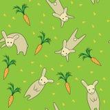 兔子无缝的样式绿色 免版税图库摄影