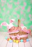 兔子服装的新出生的女婴有在柳条筐的美梦 背景美丽的复活节彩蛋节假日污点 免版税库存图片