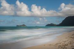 兔子海岛看法从Waimanalo海滩,奥阿胡岛,夏威夷的 库存照片